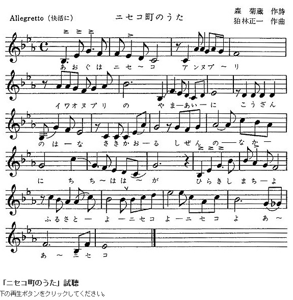 Music score of Niseko town